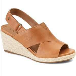 Vionic Zamar Wedge leather sandals Toffee